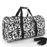 "Amazon.com: Teens and Women's Overnight, Weekend or Gym 21"" Duffle Bag (Damask- Black): Clothing"