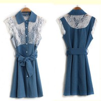 Sweet lace cowboy DENIM dress/skirt