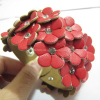 Red Soft PU Flowers MultiCrystal Adjustable Cuff by sevenvsxiao