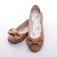BN Womens Ballet FLATS BOWED BALLERINA Casual Work Shoes Beige Brown Black
