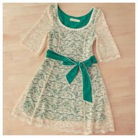 Gorgeous spring color block lace dress