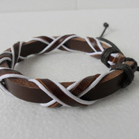 Bracelet Cuff Leather Cotton Paraffined Ropes Woven by sevenvsxiao