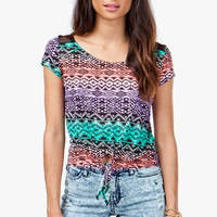 A&#x27;GACI Bright Tribal Tie Front Top - TOPS