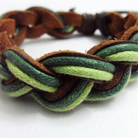 Christmas gift Real Leather Hemp Rope Woven Cuff by sevenvsxiao
