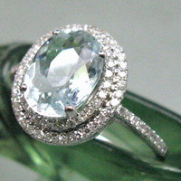 3.2ct Solid 14Kt White Gold Natural Sparkling Aquamarine VS Diamond Wedding Ring