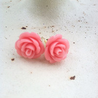 CORAL Mini Rose Earrings Small Post Vintage Rose Earrings Resin Rose Earrings for Her Women's Fashion Jewelry
