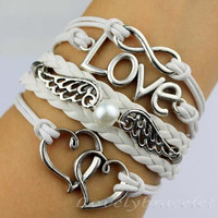 Infinite love & wings pearl bracelet, the heart and heart gift for girlfriend and boyfriend