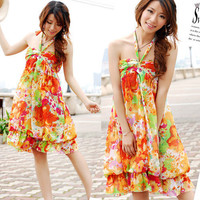 Orange summer Women Boho Floral Strapless Sleeveless Cocktail Party Dress SZ L