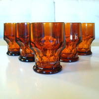 5 MID CENTURY Bar GLASSES Vintage Amber Drinking Glass Set  / Anchor Hocking Georgian  / Honey Comb / Barware Lounge / 60s Retro Kitchen