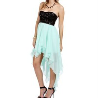 Aletta-Black/True Mint Homecoming Sequin Dress