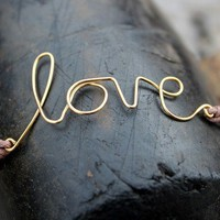 Love Bracelet : Dear Diary... Original Gold Handwritten Cursive Wire &#x27;LOVE&#x27; Charm Bracelet