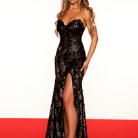 Red Carpet Sequin Black & Nude Pageant Dress By Mac Duggal 76414R