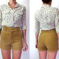 Vintage 70's High Waisted Tan Corduroy Shorts
