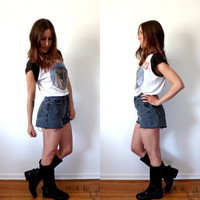 High Waisted Black Denim Shorts Vintage GAP Jean Cut Offs Size 6