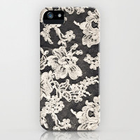 black and white lace- Photograph of vintage lace iPhone Case by Sylvia Cook Photography