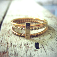 Stacking initial Ring Set - 14K Gold Rectangle Custom Initial Bar w/ Silver & 14K Gold Filled Twisted Wire Set By Pale Fish NY