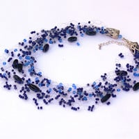 Dark Blue Necklace. Beadwork. Multistrand Necklace.