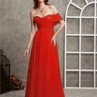 One Shoulder Red Carpet Inspired Stapless Chiffon Prom Dress PD1740