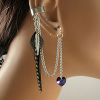 Feather Ear Cuff Silver Cartilage Swarovski Helitrope Heart