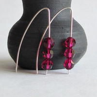 Modern Crystal Earrings - Ruby Swarovksi