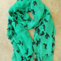 Sparrows in Flight Verte Scarf [9991] - $18.00 : Vintage Inspired Clothing & Affordable Fall Frocks, deloom | Modern. Vintage. Crafted.