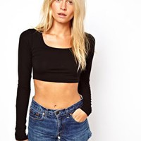 ASOS 90's Crop Top with Long Sleeve at asos.com