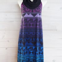 Mother's day gift - Halter dress - geometric pattern - boho stripe bold violet and blue ombre by Texturable