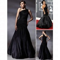 Taffeta Trumpet/ Mermaid One Shoulder Floor-length Evening Dress inspired by Grammy co1180 - Celebrity Dresses - Apparel