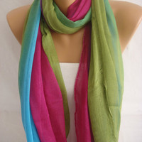 Multicolor Spring Summer Trend Viscose Scarf-ESCHERPE