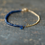 Blue Sapphire Gemstone Bracelet Precious Gem Gold Chain Delicate Handmade Jewelry
