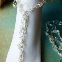Beach Wedding Crochet Trellis Ribbon Ladder Yarn Ankle Wrap Barefoot