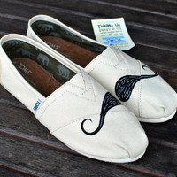 Natural Canvas Mustache TOMS