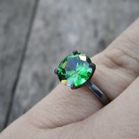 Emerald ring - solitaire ring - sterling silver ring - modern ring - oxidized - green ring - cubic zirconia