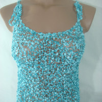 Knitted Transparent Adjustable Strap Turquoise Blouse Top for Spring&amp;Summer by Arzu&#x27;s Style