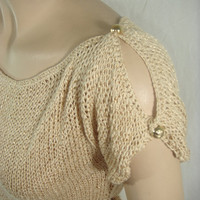 Knitted, Short Sleeve Camel Spring Summer Blouse by Arzu&#x27;s Style