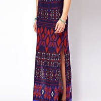 ASOS Maxi Skirt in Aztec Print at asos.com