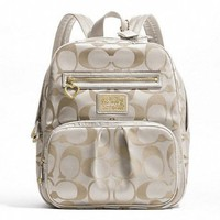 Amazon.com: Coach Daisy Signature Backpack School Travel Laptop / Baby Diaper Bag Khaki/white: Clothing
