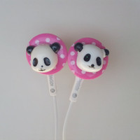 Cute Pink Polka Dot Panda Earbuds