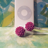 Cute Sweet Plum  Dahlia Flower earbuds With Swarovski Crystals
