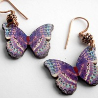 Purple and blue butterfly earrings for spring wooden