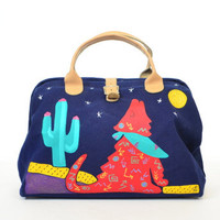 desert howling SOUTHWESTERN coyote & cactus HAND PAINTED denim doctors bag/purse