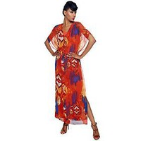 K-DASH by Kardashian V-neck Printed Caftan Maxi Dress — QVC.com