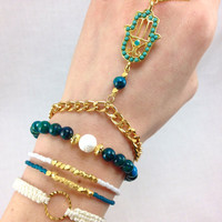 Teal Gypsy Bracelet Set with Hamsa Charm