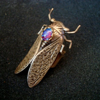 CICADA RING Set with Dragons Breath Mexican Opal, Finger shield, Large Comfy Ring Base Shown in Pictures, Metal Bonded Not Glued