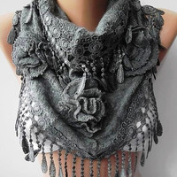 Gray Gorgeous Scarf Elegant and Classy