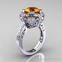 Edwardian 14K White Gold 3.0 Carat Orange Sapphire Diamond Engagement Ring, Wedding Ring Y404-14KWGDOS