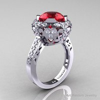 Edwardian 14K White Gold 3.0 Carat Rubies Diamond Engagement Ring, Wedding Ring Y404-14KWGDR