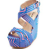 Geo Print Satin Wedge Sandal: Charlotte Russe