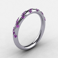 French Bridal 10K White Gold Lilac Amethyst Wedding by artmasters