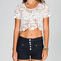 FULL TILT Womens Crochet Crop Top 212603150 | Knit Tops & Tees | Tillys.com